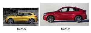 BMW X2 и X4 в профиль